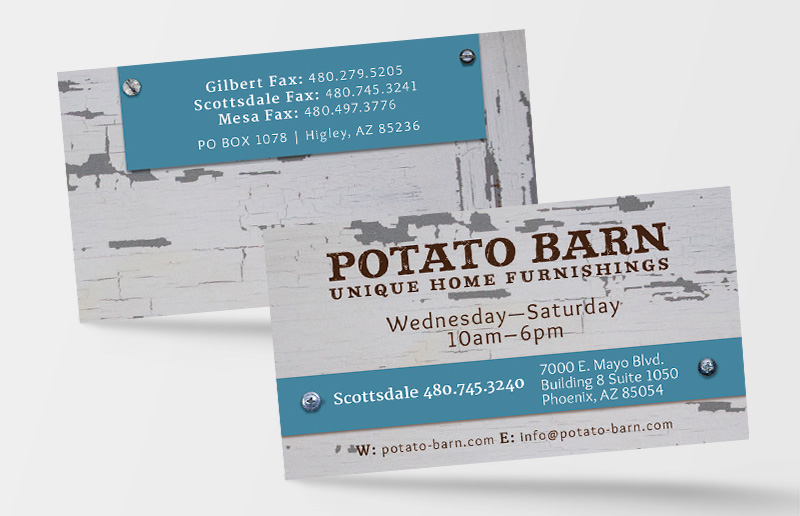 Potato Barn Business Card Design Phoenix