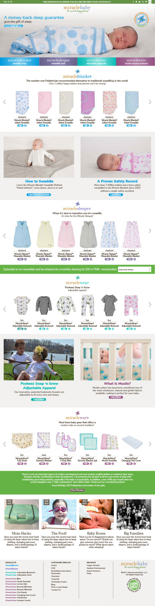Miracle Blanket Ecommerce Website Design