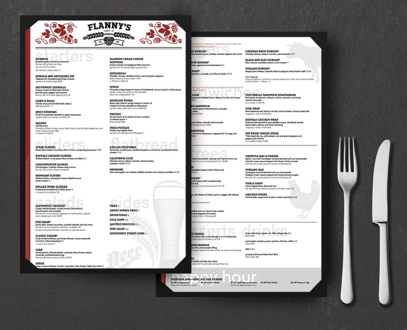 Flannys Restaurant Menu Design