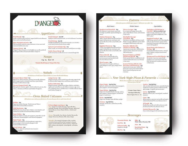 Restaurant Menu Design DeAngelos