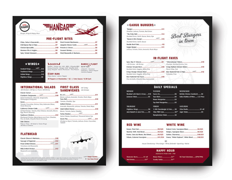 Restaurant Menu Design the Hangar